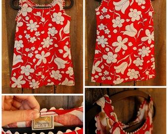 Girls red floral sun dress