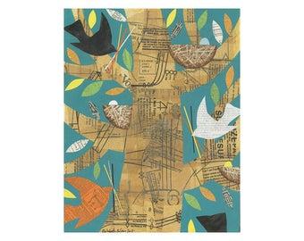 Gathering Twigs, 11x14 large ORIGINAL acrylic canvas PAINTING, birds in a tree, bird art  by Elizabeth Rosen