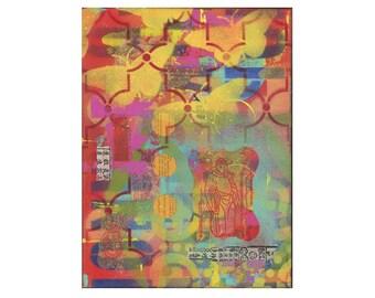 CHINATOWN 4, zen art, ORIGINAL 9x12 PAINTING, meditation, grafitti art, butterflies, impasto,  by Elizabeth Rosen