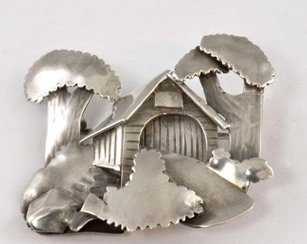 Vintage Brooch - Handcrafted Three-Dimensional Covered Bridge Pin - Sterling Silver - Signed FD w/ Hammer - 925 Silver Jewelry - Lapel Pin