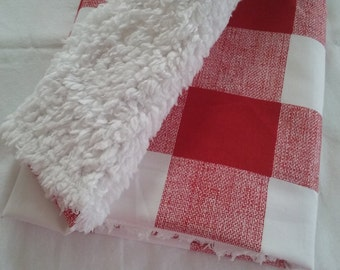 rustic baby blanket buffalo check plaid cream white & red or black woodland nursery bedding