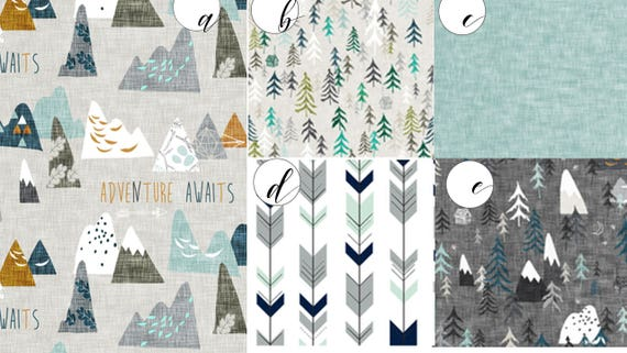 Baby Bedding Crib Quilt and Crib Skirt  Charcoal Grey and White BlueToddler Blanket  Adventure, Max, Mountains, Forest