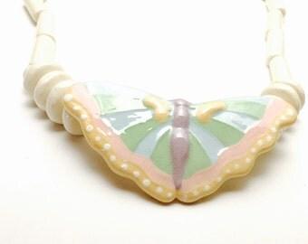 Vintage Parrot Pearls Necklace, Large Butterfly Pendant, Painted Porcelain, Item No. B252