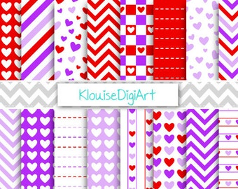 Red and Purple Valentine's Day Hearts, Chevrons and Stripes Printable Digital Papers for Personal and Small Commercial Use (0245)
