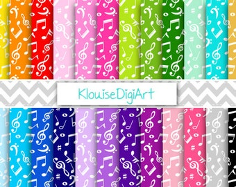 Rainbow and Pastel Musical Notes Printable Digital Paper Pack for Personal and Small Commercial Use (0265)