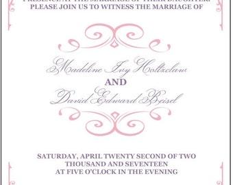 SALE 15% off ends Sunday wedding invitation, lavender wedding invitation, purple wedding ideas, lilac wedding invitation, blush invitation,