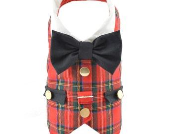 Red Tartan Dog Harness Vest