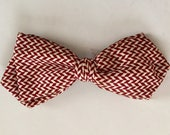 Vintage 1950s 60s Men's Maroon & White Clip Bow Tie Ormond NYC