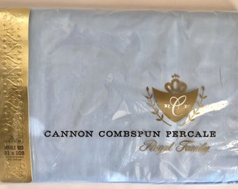 Vintage 1960s Cannon Light Blue Cotton Percale Full Size Flat Sheet New Old Stock