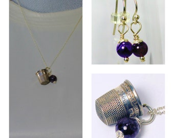 Antique Thimble and Acorn Kisses for Wendy Necklace and Earrings Set Solid Sterling Silver and Amethyst - Peter Pan and Wendy