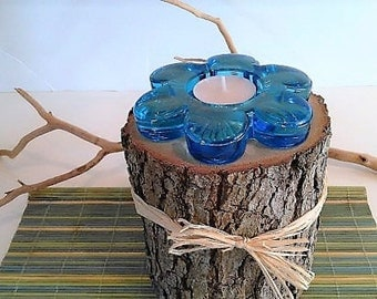 Flower candle - Tree branch candle - Tree log candle - Blue flower candle - Turquoise candle - Glass candle - Blue candle - Home and Living