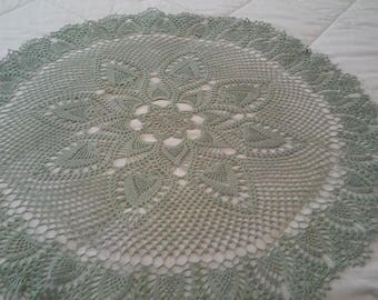 Frosty Green tablecloth, doily, centerpiece