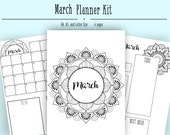 March Monthly Layout PDF in A4, A5, and Letter- Bullet Journal Printable Template - MandalaTheme- Coloring Page