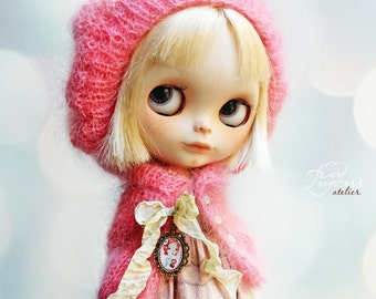 LOLLIPOP Set For Blythe, Jacket And Beret By Odd Princess Atelier,  New Hand Knitted Collection