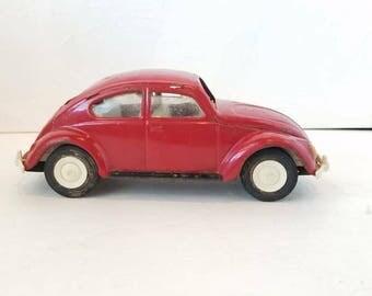 Vintage Red Toy VW Beetle Metal Large Christmas Decor