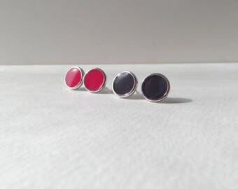 Rhodium Plated Silver Studs, round earrings, hot pink studs, blackcurrant studs, Small Silver Studs, resin earrings, 10mm studs