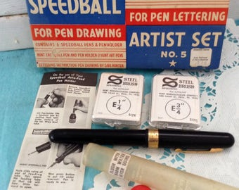 Speedball Pen - Flat Edged Pen Point Steel Brushes - E 1/4 - E 3/4 - Calligraphy tools  - instructions - Pen collector - made in USA - 1970s