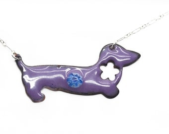 Purple Vitreous Enamel Doxie Necklace  RAWF Benefit