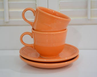 Fiestaware Orange Tangerine 2 Teacups and Saucers