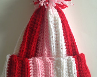 Handmade Crochet Valentine's Day Crochet Hat with Pom or without Messy Bun Crochet Beanie
