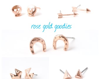Rose Gold Arrow Stud- Rose Gold Studs- Arrow Earrings- Personalized Jewelry- Tiny Arrow Earrings- Delicate- Tiny Arrow Studs- Arrow Studs
