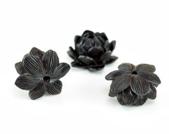 19x11MM Natural Ebony Black Sandalwood Handcrafted Floral Lotus Loose Beads 2 Beads (50766-251)