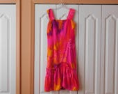 Reserved for Kikania Vintage Summer Dress - Bold Bright Colors, Great Style, Fun Vintage Dress, Lot the fabric