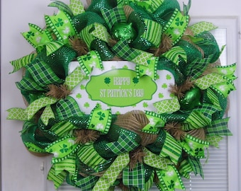 St. Patrick's Day Wreath, Irish Wreath, Spring Wreath, Shamrock Wreath, Deco Mesh Wreath