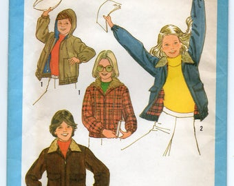 Top Stitched Lined Jacket Front Zipper Elastic Casing At Lower Sleeve Edges Boy's Girl's Size 8 10 Children's Sewing Pattern Simplicity 8769