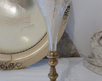 Fabulously elegant old French etched glass soliflor....