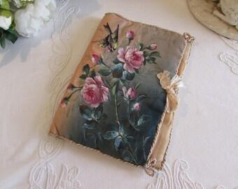 Antique French  large hand painted silk lingerie pillow/cushion.   Boudoir trousseau.  Romantic, shabby cottage chic