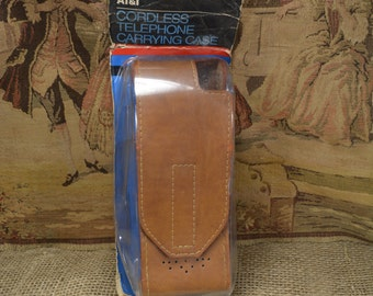 Vintage 1988 AT&T Cordless Telephone Carrying Case Leather New in Package Cell