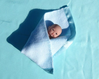 Hand Woven Doll Baby Blanket Aqua Small Doll Blanket Woven Aqua Doll Blanket Blanket for 6 Inch or Less Doll Aqua Small Doll Blanket