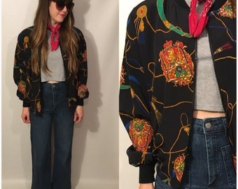 Vintage 80s Black Zip Up Jacket Tassel Long Sleeve Size Medium / Large
