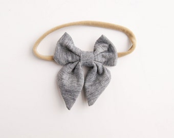 Baby Bow Headband - Gray Baby Bow Headband