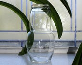 Vintage Etched Glass Night Set Tumble Up Caraf and Tumbler 1930s