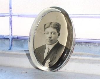 Antique Photo Paperweight Edwardian Man