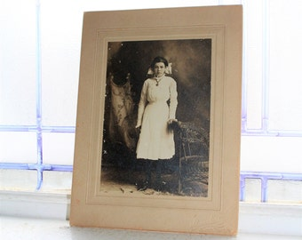 Antique Cabinet Card Photograph Victorian Girl In White