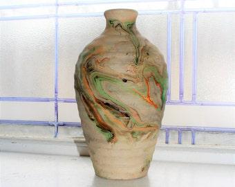 Vintage Nemadji Pottery Vase 8.25 Inch Swirl Pottery