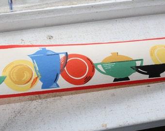 Vintage 1940s Wallpaper Border Caliente Dex Brand Unused Kitchen Wall Paper