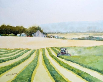Watercolors ORIGINAL - While the Sun Shines - farm, harvest, hay, swather, tractor, barn