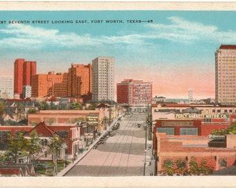 Linen Postcard, Fort Worth, Texas, West Seventh Street Looking East, ca 1940