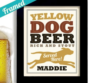 Yellow Labrador Retriever Beer Gift Beer Art Bar Art Yellow Lab Gift for Him Personalized Yellow Dog Bar Gift Dog Owner Gift Labrador Art