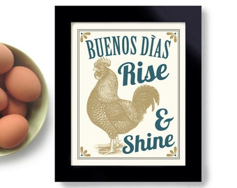 Rooster Art for Kitchen Farmhouse Chic Rise and Shine Chicken Art Print Good Morning Kitchen Decor Buenos Dias Mexican Artwork Farm Animals