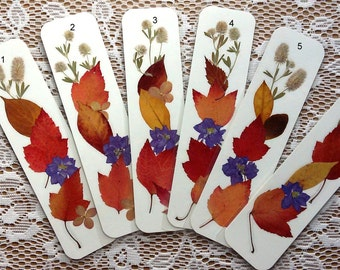 AUTUMN LEAVES BOOKMARKS-  Pressed Fall Foliage, Pressed Flowers, Preserved Leaves Bookmark, Leaf Art, Book Lover Reading Gift, Fall Color