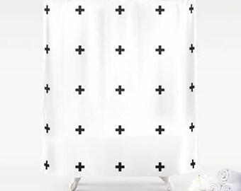 Premium Smooth FABRIC SHOWER CURTAIN White Black Swiss Crosses Neutral Urban Modern Minimalist Contemporary . Machine Wash Tumble Dry