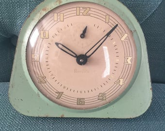 Vintage 1940s 1950s Mint Green Clock by Reveille - Art Deco Mid Century Home