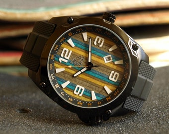 Recycled Skateboard Watch - Blue & Yellow