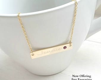 Personalized Necklace Custom Birthstone Necklace Custom Bar Necklace, Personalized Jewelry Personalized Gifts