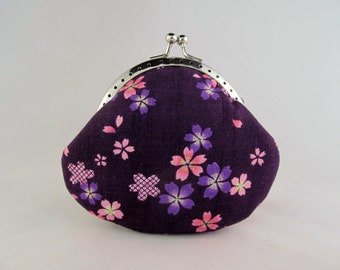 Purple Cherry Blossoms Flower purse - Cute Coin Purse - Coin Pouch - Change Purse - Kiss Lock Purse - Metal Frame Purse